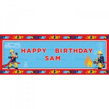 Banner plastic personalizabil Pompierul Sam 120 * 45 cm0