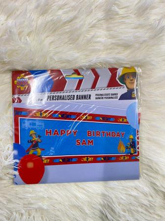 Banner plastic personalizabil Pompierul Sam 120 * 45 cm3