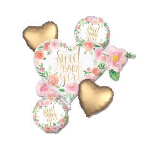 Buchet 5 baloane folie Sweet Baby Girl 0266353851690