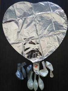 Set 10 baloane cu confetti argintiu / silver si inima 30cm1