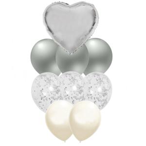 Set 10 baloane cu confetti argintiu / silver si inima 30cm0