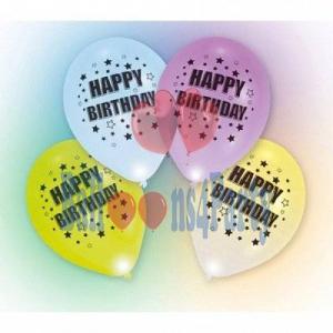 "Set 4 baloane latex cu led ""Happy Birthday"" 27.5cm 00130516544741"