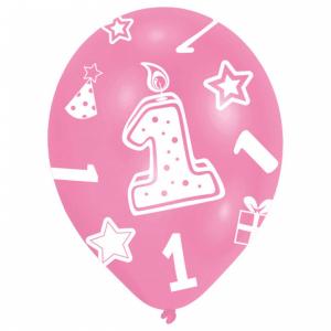 Set 6 Baloane Aniversare 1 an roz 27.5 cm 00130513808921