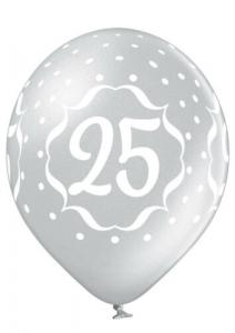 Set 6 baloane latex 25 ani argintiu 30 cm [1]