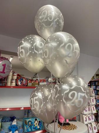 Set 6 baloane latex 25 ani argintiu 30 cm [3]