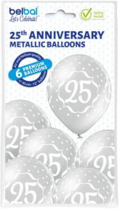 Set 6 baloane latex 25 ani argintiu 30 cm [2]