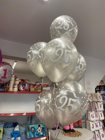Set 6 baloane latex 25 ani argintiu 30 cm [4]