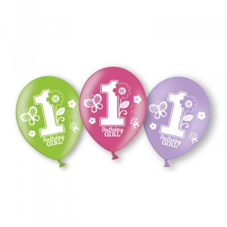 Set 6 baloane latex Prima Aniversare fata 27.5 cm0