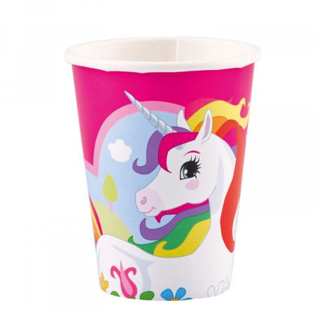Set 8 pahare carton Unicorn Multicolor 250 ml0