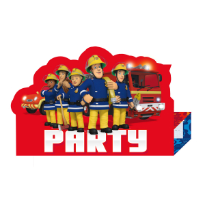 Set 8 invitatii  Pompierul Sam / Fireman Sam 16 x 11cm 00130517434510