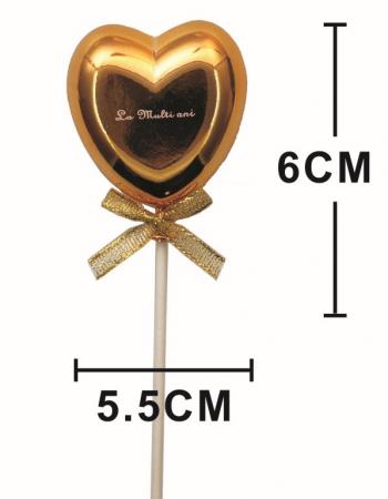Topper tort plastic inima auriu La multi ani 6 * 5.5 cm [1]