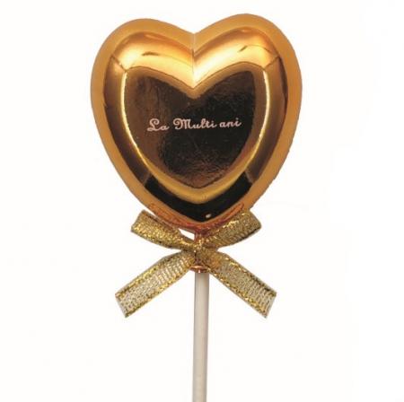 Topper tort plastic inima auriu La multi ani 6 * 5.5 cm [0]