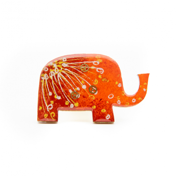 Brosa LEMN Elefant colorat 0