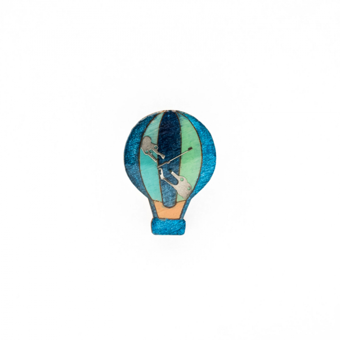Brosa Lemn Balon Albastru 0