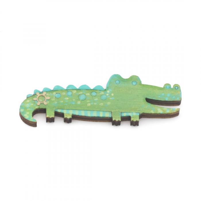 Brosa Lemn Crocodil 0
