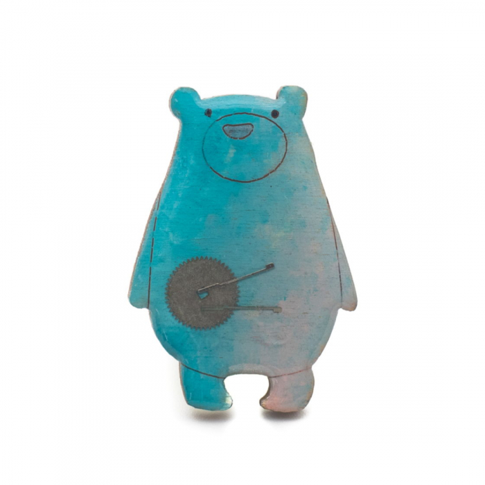 Brosa Lemn Ursulet Albastru 0