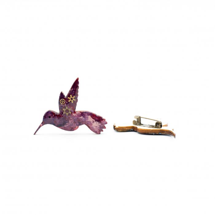 Brosa Mov din Lemn - Colibri 1