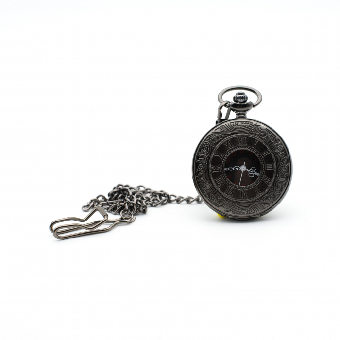 Ceas de Buzunar cu lant - Black - Colectia SteamWall 0