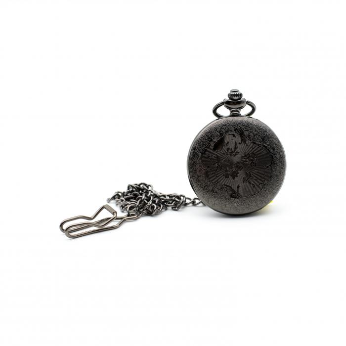 Ceas de Buzunar cu lant - Black - Colectia SteamWall 2