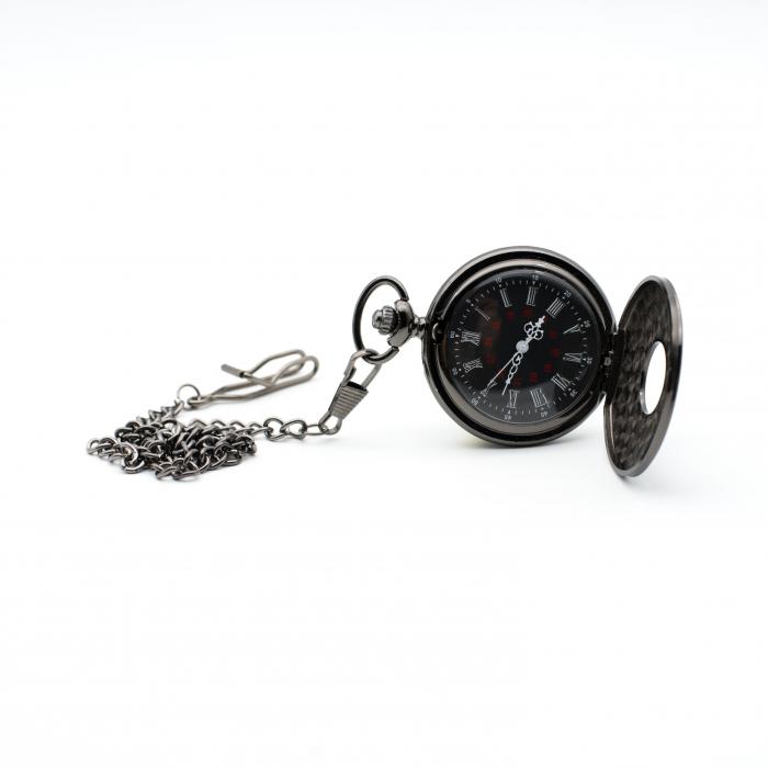 Ceas de Buzunar cu lant - Black - Colectia SteamWall 1
