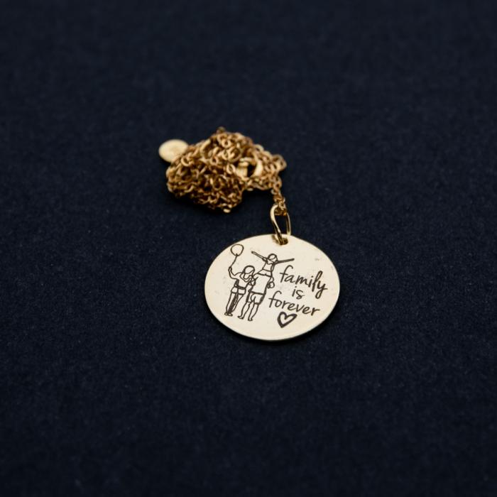 Colier FAMILY IS FOREVER - Argint 925 placat cu aur 3