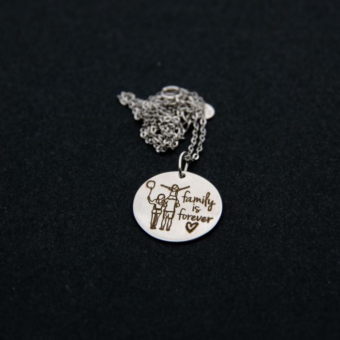 Colier FAMILY IS FOREVER - Argint 925 placat cu aur 4
