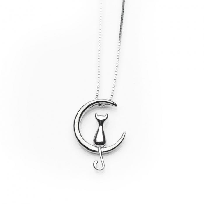 Colier 'Moon Cat' Argint 925 + placat Aur Alb 2