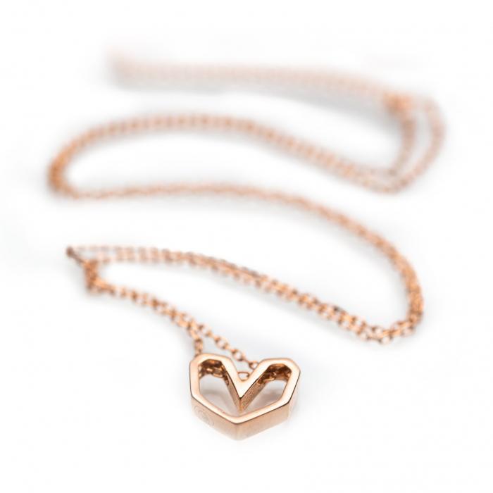 Colier 'Pink Heart' Argint 925 1