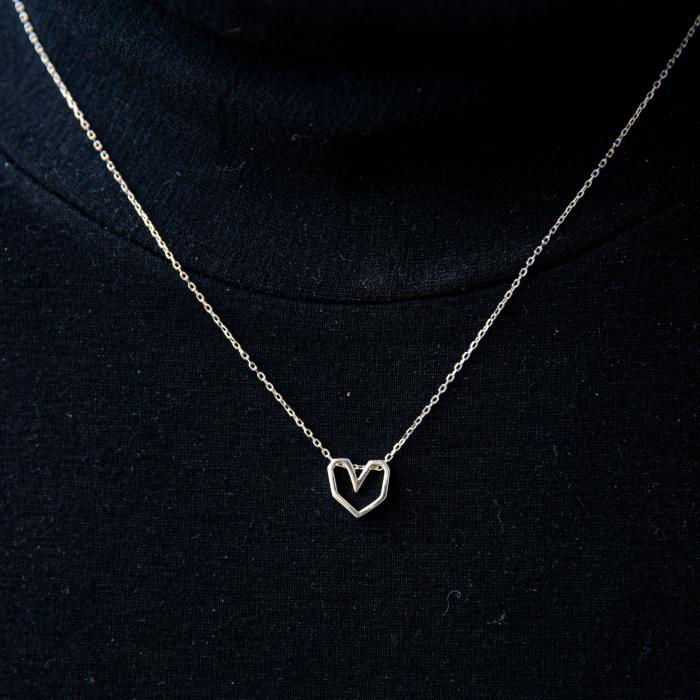 Colier Silver Heart - Argint 925 placat cu Aur Alb 3