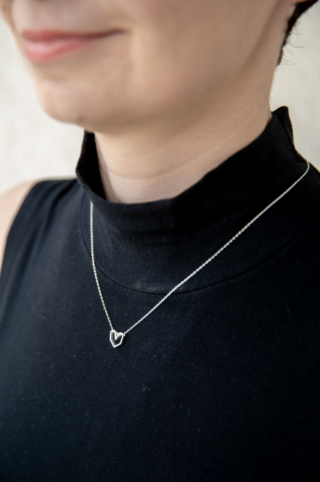 Colier Silver Heart - Argint 925 placat cu Aur Alb 1