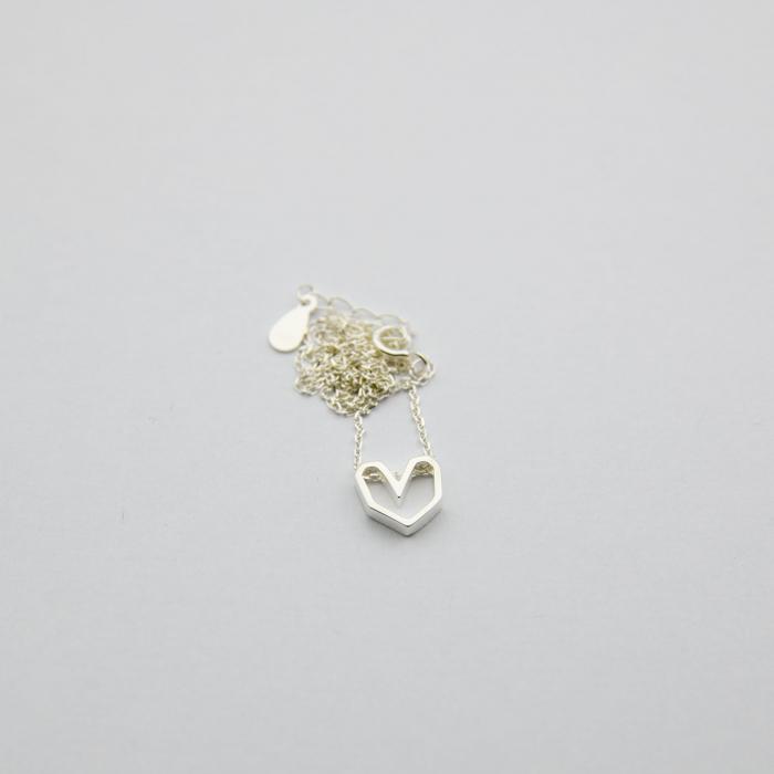 Colier Silver Heart - Argint 925 placat cu Aur Alb 2