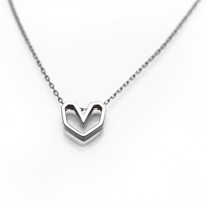 Colier Silver Heart - Argint 925 placat cu Aur Alb 0