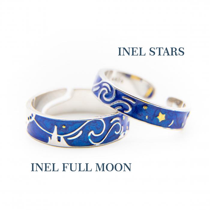 Set Inele Argint 925, Colectia Van Gogh ' Cerul Instelat ' -  Stars & Full Moon 3