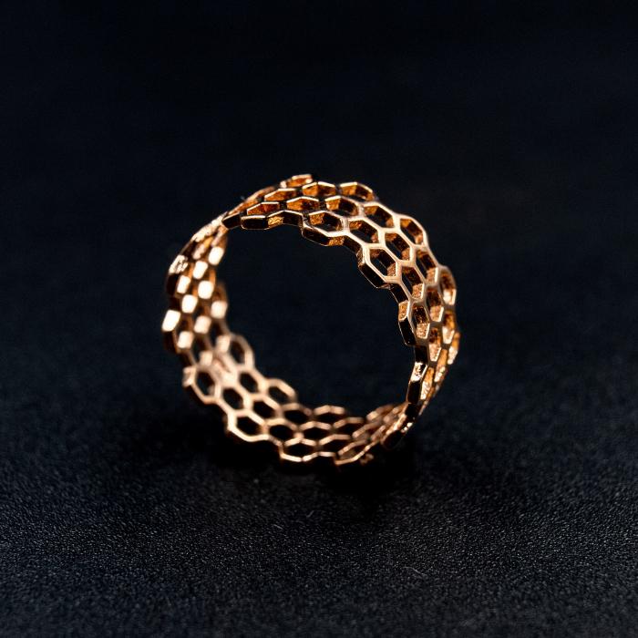 Inel Honeycomb Argint 925 - Roz 0