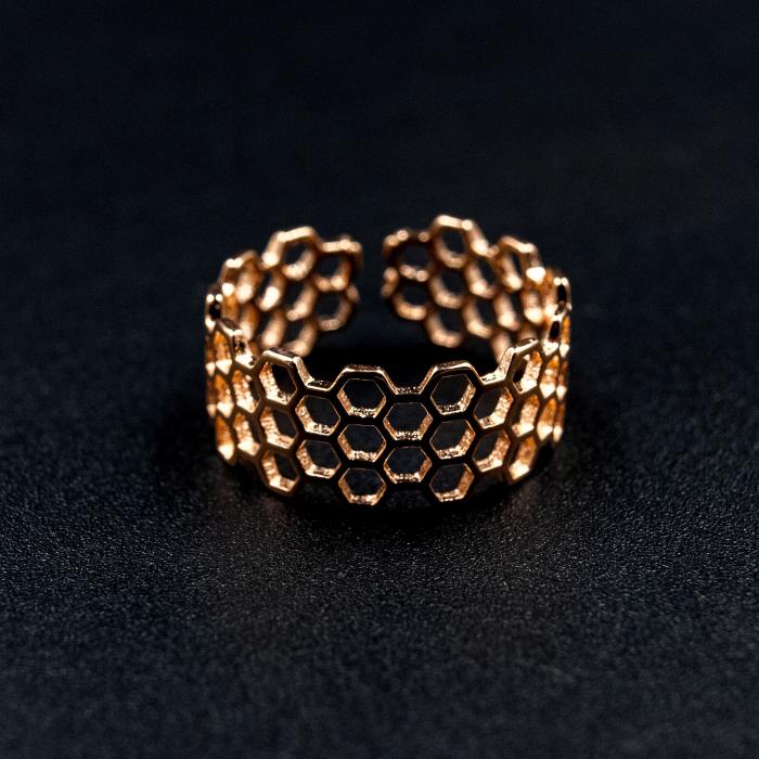 Inel Honeycomb Argint 925 - Roz 2
