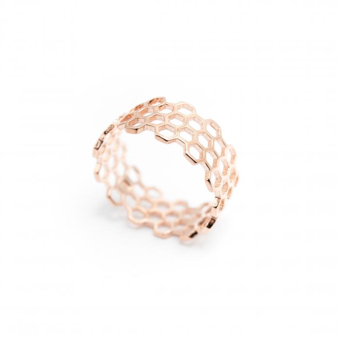 Inel Honeycomb Argint 925 - Roz 3