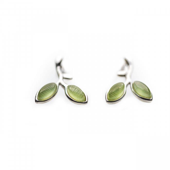 Cercei Argint 925 'Opal Leaf'