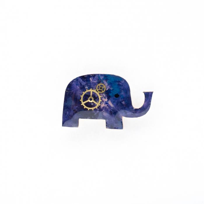 Brosa Lemn Albastra Elefant 0