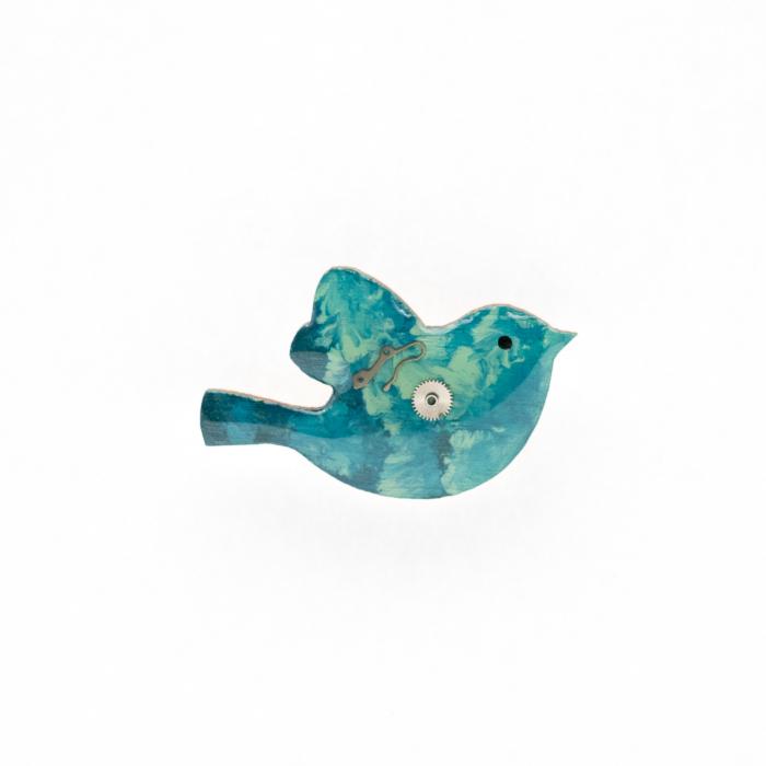 Brosa Lemn Pasare Turquoise