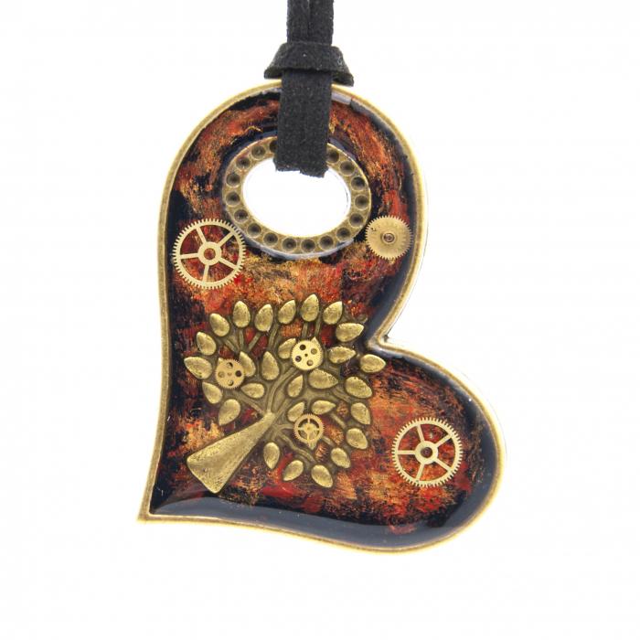 Pandantiv Inima cu Charm Copacul Vietii / Tree of Life 1