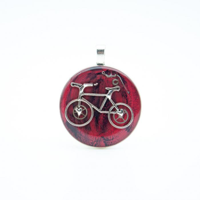 Pandantiv Rosu Bicicleta  0