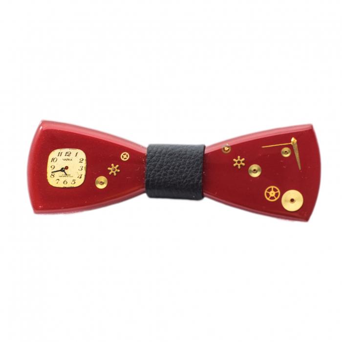 Papion din lemn - Red Kiss 0
