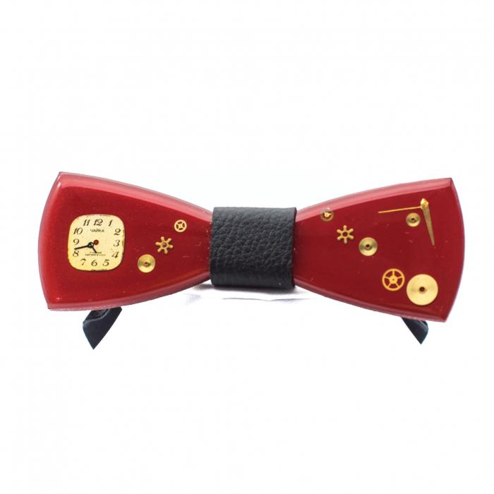 Papion din lemn - Red Kiss 2