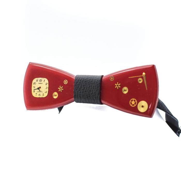 Papion din lemn - Red Kiss 3