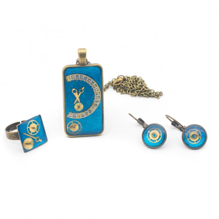 Set Bijuterii Albastru Metalizat - Handmade - EDITIE LIMITATA 0