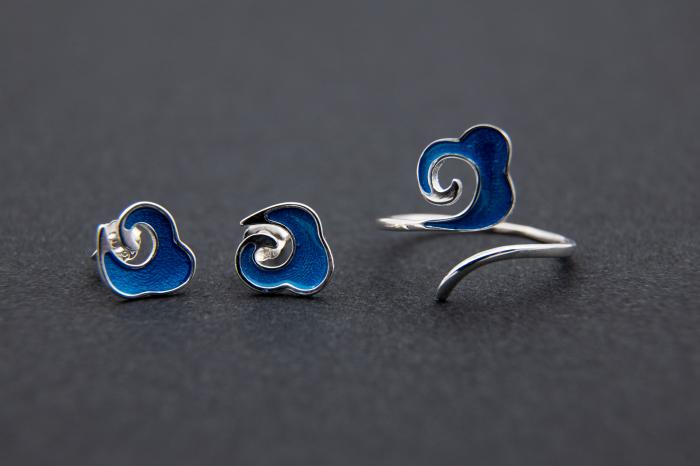 Set Cercei ' Ocean Waves ' - Argint 925 4