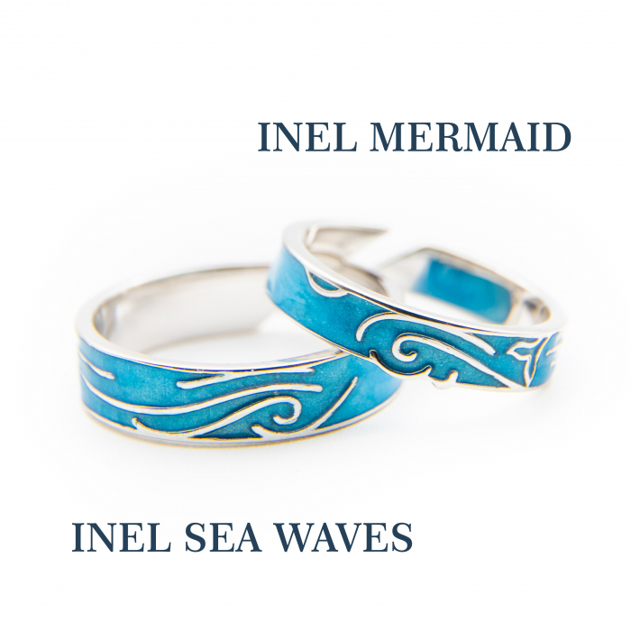 Set Inele Argint 925, MERMAID & SEA WAVES ' Aquamarine ' 3