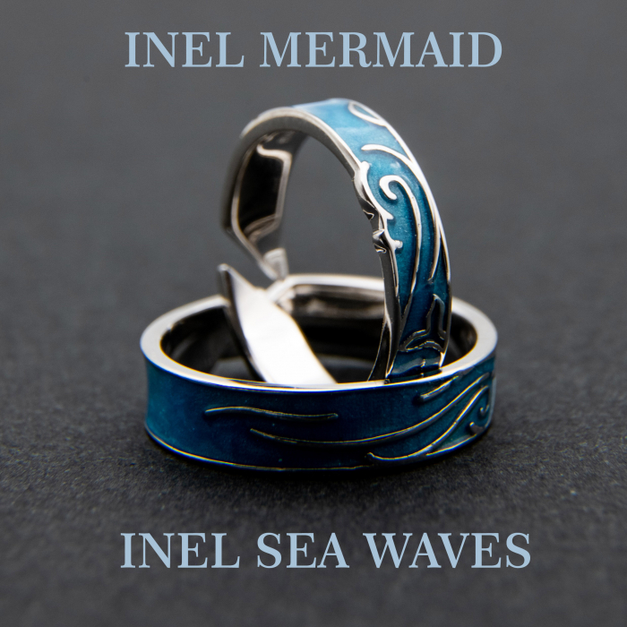 Set Inele Argint 925, MERMAID & SEA WAVES ' Aquamarine ' 4