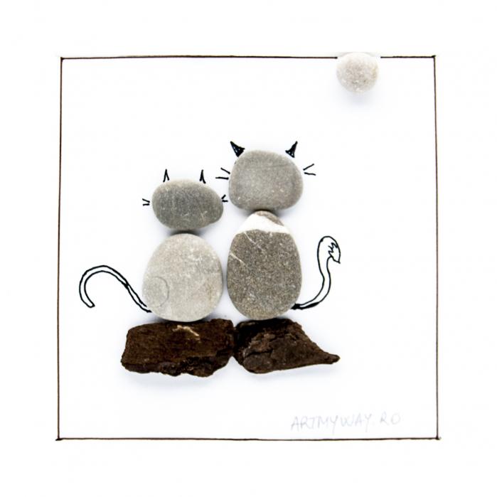Tablou ZEN Cats - Colectia Pebble Art 2