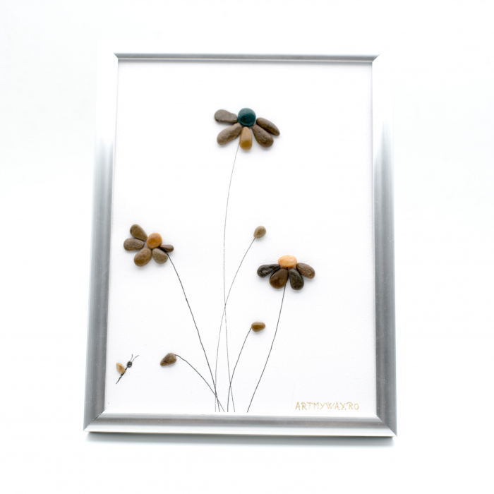 Tablou Windy Days Alb - Colectia Pebble Art - EDITIE LIMITATA 0
